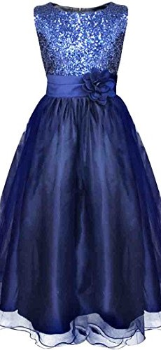 YiZYiF Kids Girls Sequined Wedding Dress Bridesmaid Formal Christmas Party Gown Navy Blue 5-6 image 03