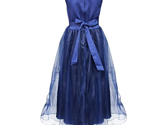 YiZYiF Kids Girls Sequined Wedding Dress Bridesmaid Formal Christmas Party Gown Navy Blue 5-6 photo 01