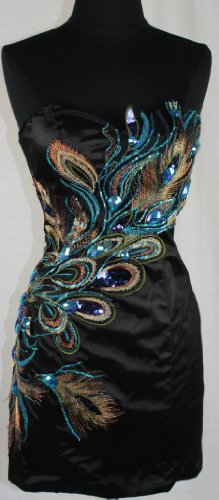 ac11d04d63e Zeilei Strapless Peacock Embroidery Evening Cocktail Homecoming Dress in  Black Best Offer